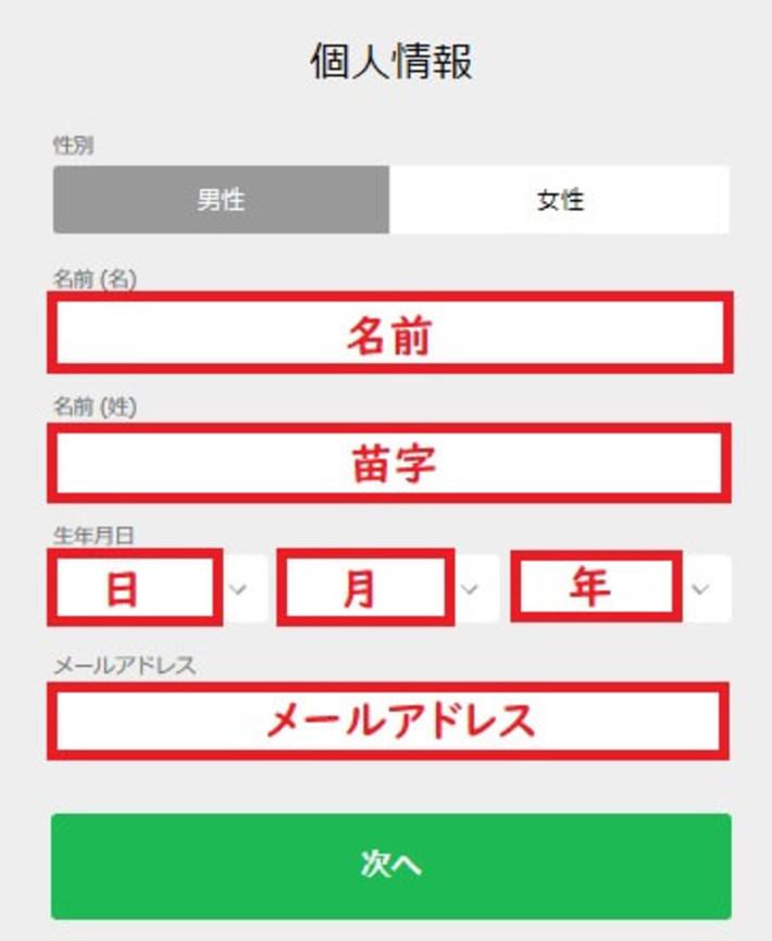 10betの登録手順の画像