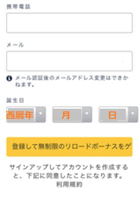 ハッピースターカジノの登録手順の画像