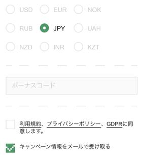 ボンズカジノの登録手順の画像
